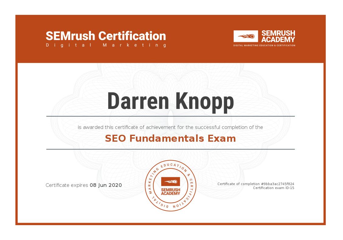 fundamentals seo certification